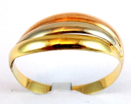 anel em ouro amarelo, branco e rosa 18 kt