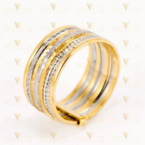 anel em ouro amarelo e branco de 7 elos com cinta an063