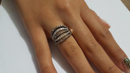 anel em ouro branco 18k 750 com brilhantes verdadeiros 7,58g