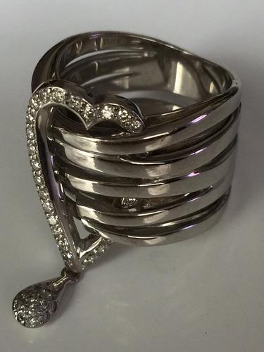 anel em ouro branco c/ brilhantes anel forrado e confortavel