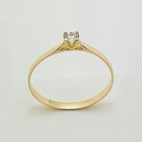 anel  em ouro  de noivado 18k  com zircônia.