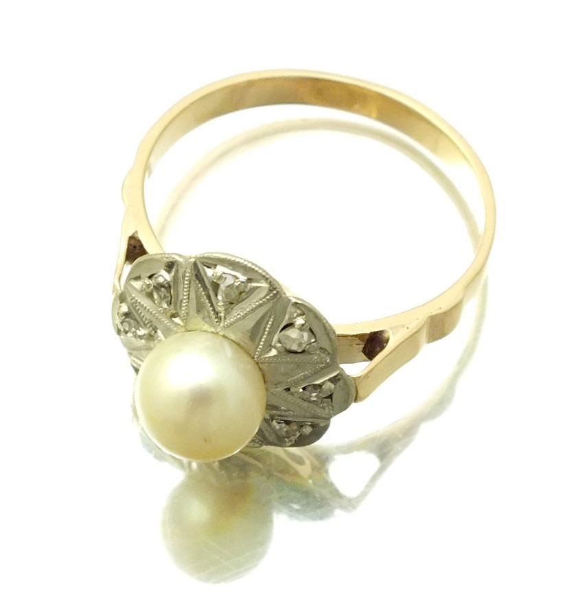 0d903dd3987 anel em ouro rose e branco 18k c  perola e brilhantes j8025. Carregando  zoom.