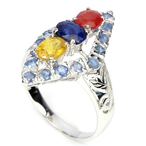 anel em prata .925 com safiras coloridas naturais aro 21 !!!