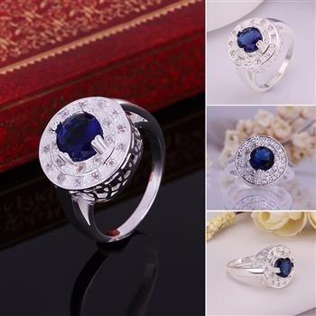 anel em prata 925 cravejado de cristais e pedra azul