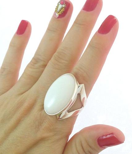anel em prata 950 feminino vazado pedra natural frete grátis