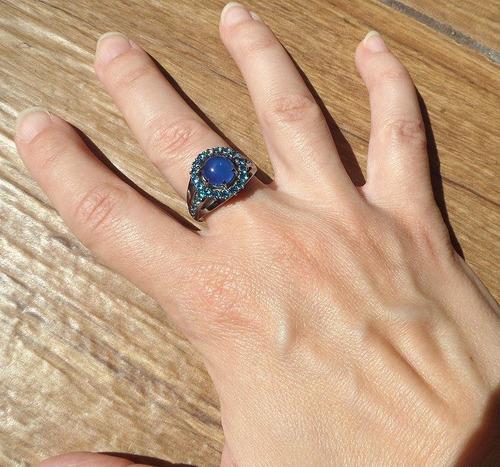 anel em prata com ágata azul e ródio negro