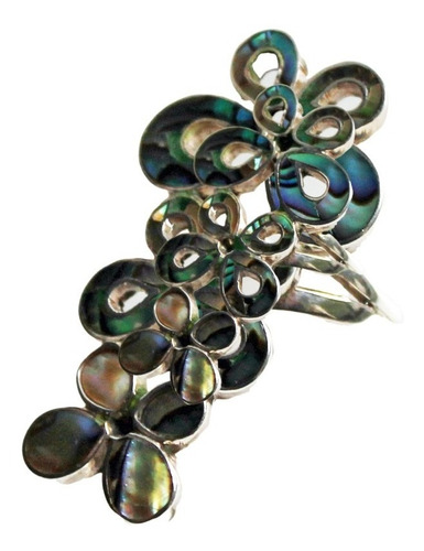 anel em prata com borboletas de abalone