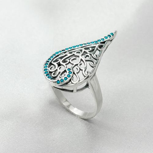 anel em prata gota com nano turquesa