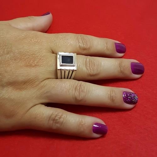 anel em prata lei 925 com ouro e onix masculino feminino