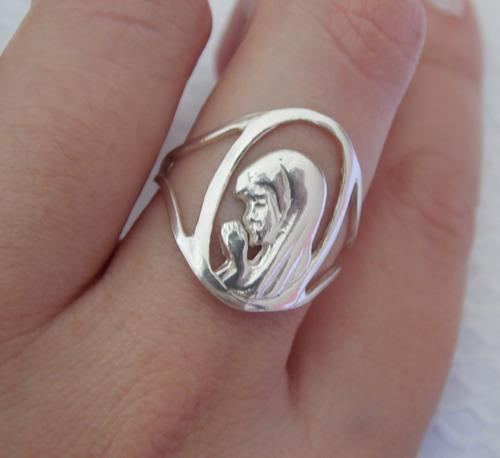 anel em prata - maria, mãe de jesus