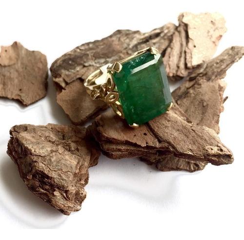 anel esmeralda original retangular grande ouro 18k 12474