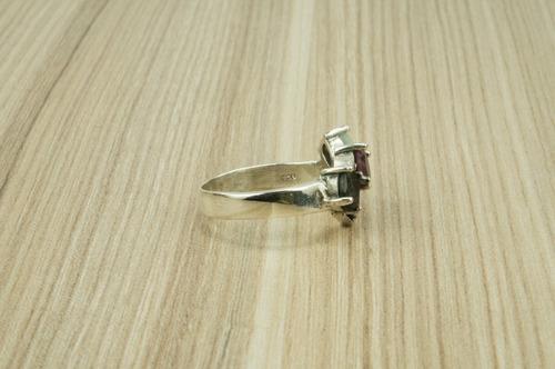 anel esmeralda rubi safira  (l) prata 925