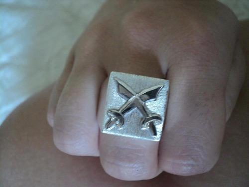 anel espada cruzada de ogum em prata