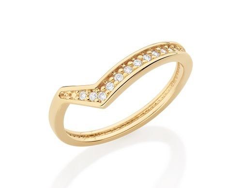 anel estilizado detalhe v cravejado rommanel 512153