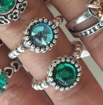 anel estilo pandora  prata 925 com pedra varias cores