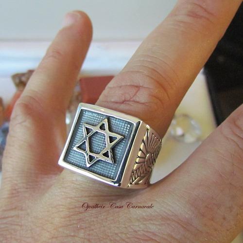 anel estrela davi salomão prata maciça ojoalheiro