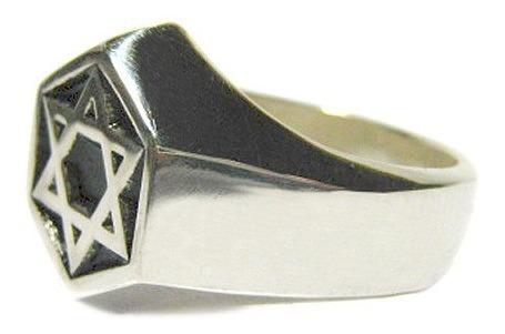 anel estrela de davi em prata / cabala / cristo / judaísmo