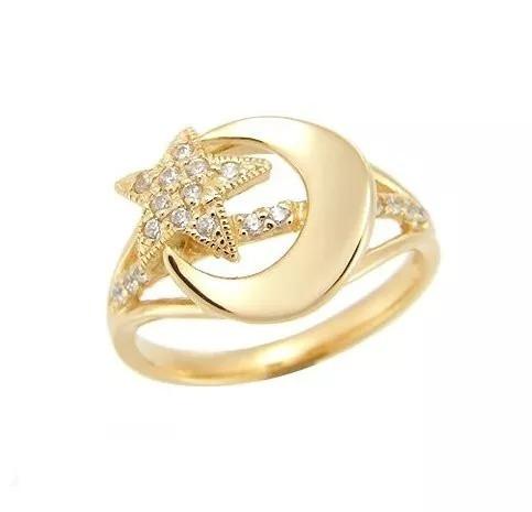 anel estrela e lua em ouro amarelo 18k com diamantes!