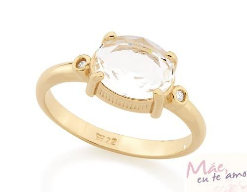 anel f. ouro 18k feminino liso cristal oval rommanel 512238