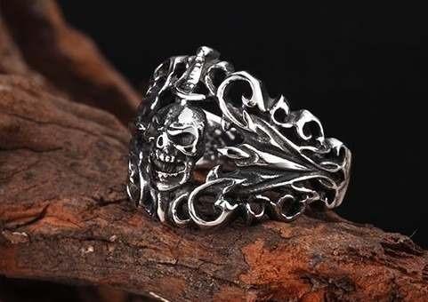 anel faca na caveira em aço inox