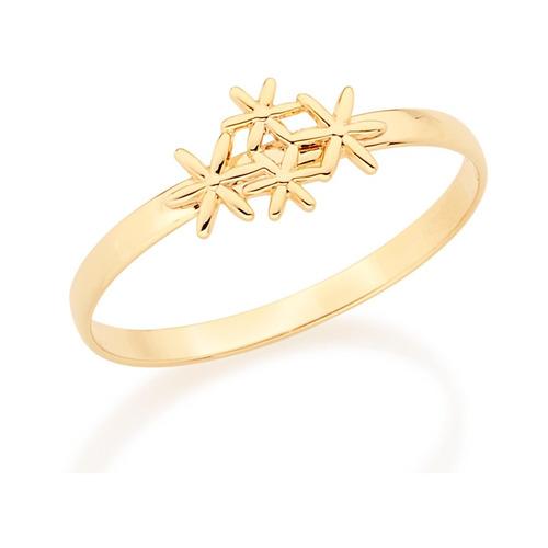 anel falange flores estilizadas f. ouro 18k rommanel 512283