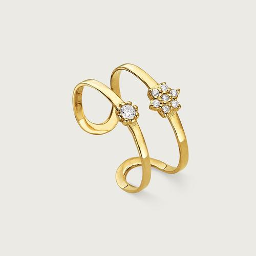 anel falange lulean em ouro 18k (750) com zircônias