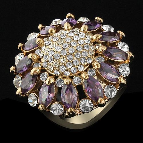 anel feminino 3x folheado ouro rose cristal stellux zircônia