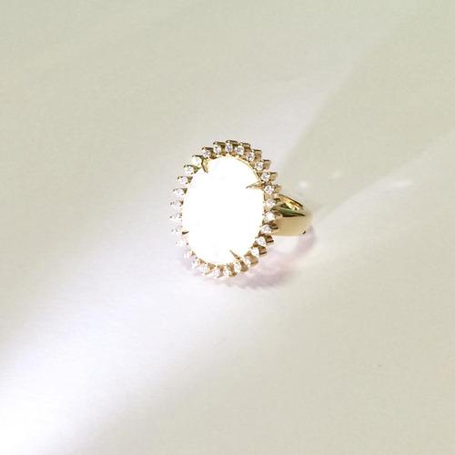 anel feminino agua marinha banhado ouro 18k com zirconia b10