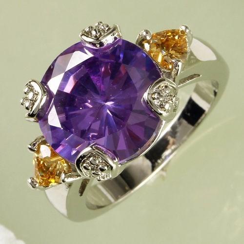 anel feminino  ametista+morganite ,prata 580,