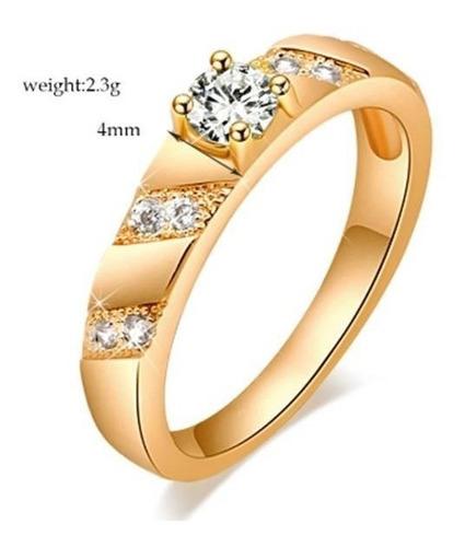 anel feminino banhado a ouro zircônia aro 16
