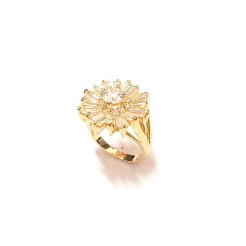 anel feminino banhado ouro 18k com zirconias e cristais b14