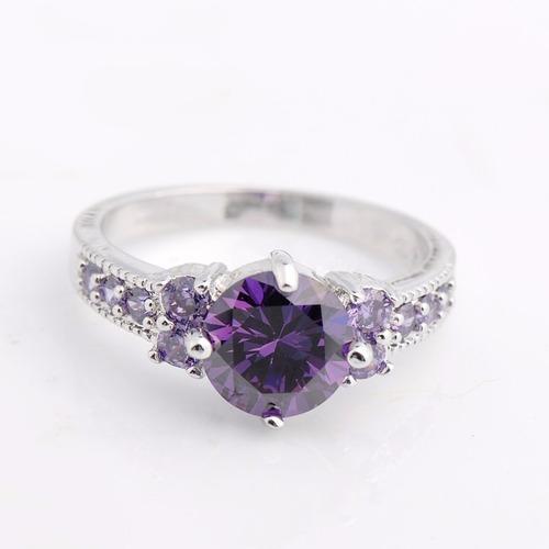 anel feminino banhado ouro branco cristal ametista - luxo
