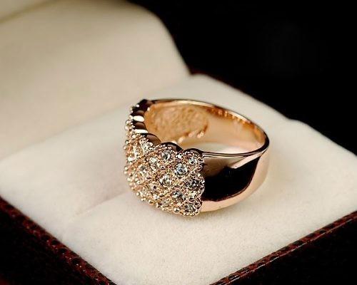 anel feminino banho ouro rose 18k cristais swarovski