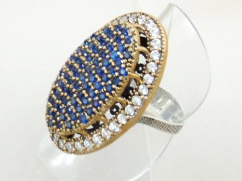 anel feminino com zircônias  azuis  prata turca 925