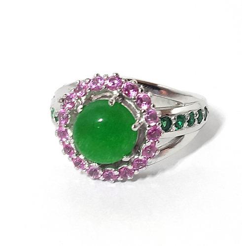 anel feminino com zircônias rosa e jade em prata
