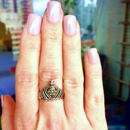 anel feminino coroa em prata 925 com marcassita aro 16