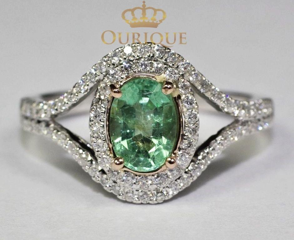 9c557b6ee465f anel feminino de ouro 18k 750 com esmeralda e diamantes. Carregando zoom.