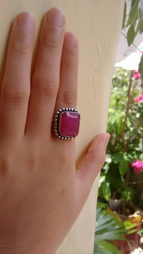 anel feminino de prata indiana pedra rubi natural aro 15
