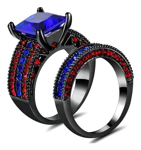 anel feminino duplo aliança safira azul rubi vermelho 667