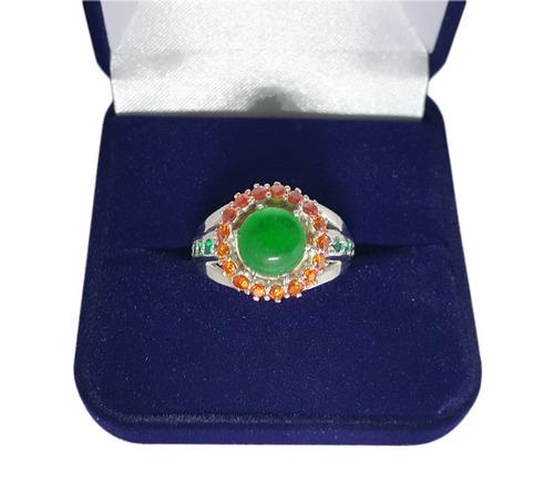 anel feminino em prata com jade e zircônias