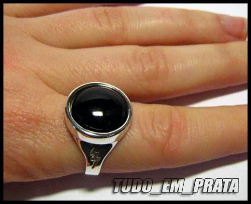 anel feminino em prata com ônix