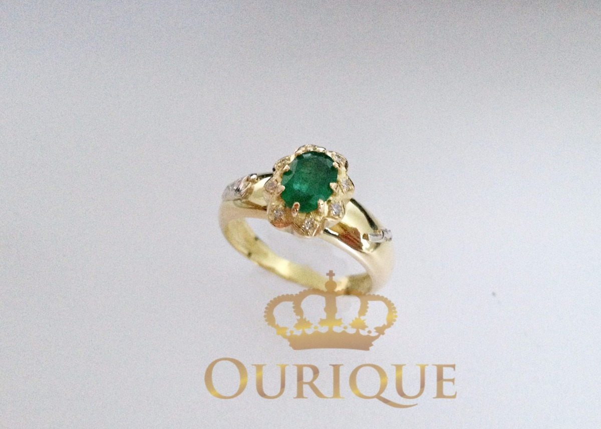 e87bfe618315f anel feminino esmeralda e diamantes ouro 18k 750 formatura. Carregando zoom.