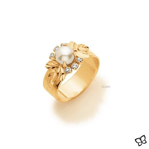 anel feminino f ouro solitário joia perola rommanel 511455