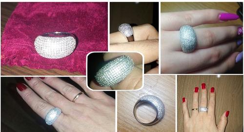 anel feminino folheado largo grosso pedras folheado zircônia