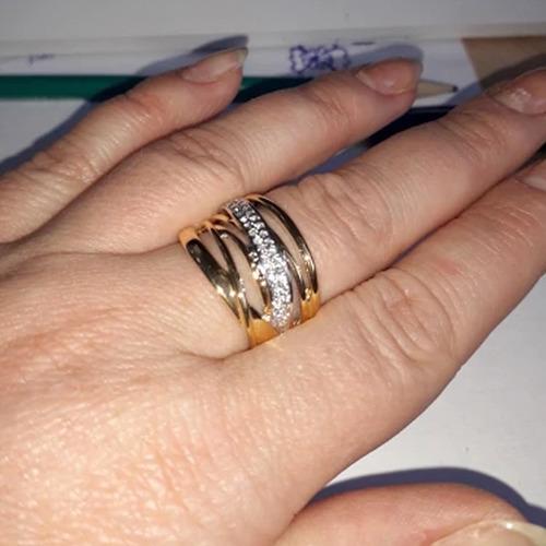 anel feminino folheado ouro 18k grande largo grosso c146