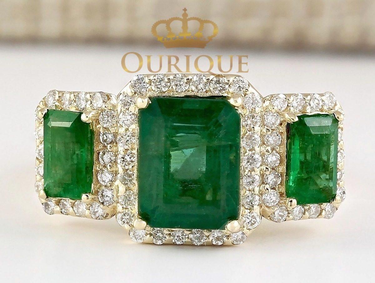 29dae236037d1 anel feminino formatura esmeralda e diamantes ouro 18k 750. Carregando zoom.