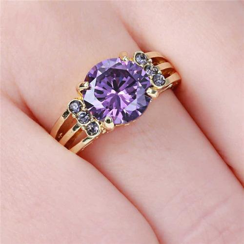 anel feminino formatura pedra ametista roxa 642 p