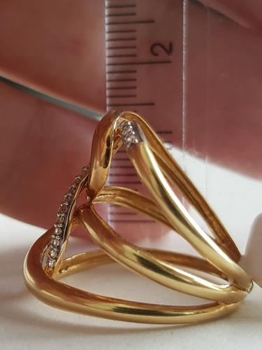 anel feminino grande em ouro 18k 750 com topázios oferta