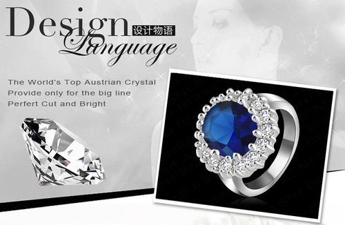 anel feminino luxo prinses kate diana william pedra zircônia