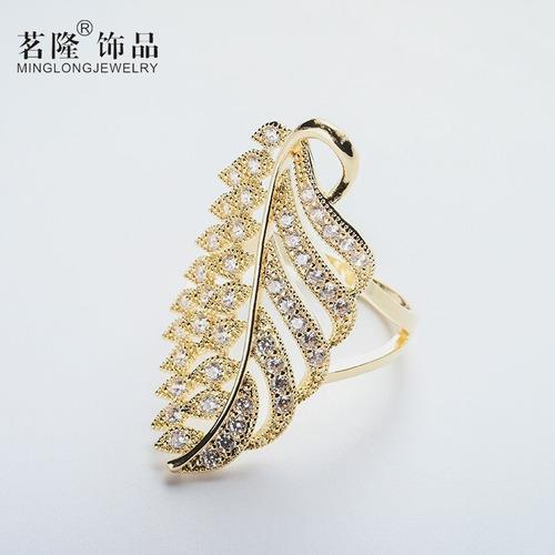 anel feminino luxo puro strass designer 3d folhas